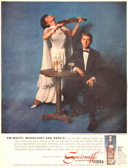 Smirnoff Vodka Mike Nichols Eliane May 1961 | Sex Appeal Vintage Ads and Covers 1891-1970