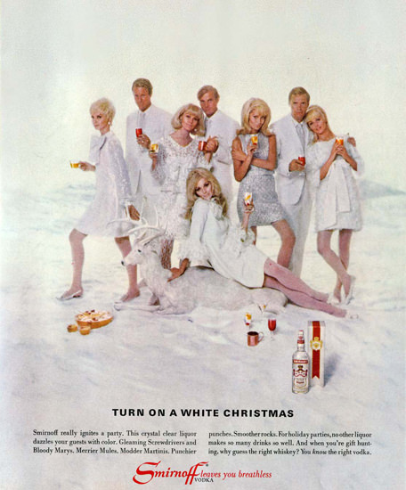 Smirnoff Vodka Turn On A White Christmas 1967 | Sex Appeal Vintage Ads and Covers 1891-1970