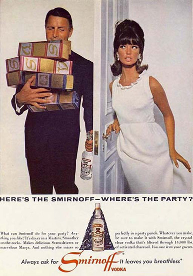 Smirnoff Vodka Wheres The Party 1965 | Sex Appeal Vintage Ads and Covers 1891-1970