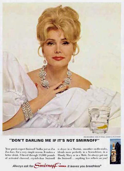 Smirnoff Vodka Zsa Zsa Gabor 1967 | Sex Appeal Vintage Ads and Covers 1891-1970