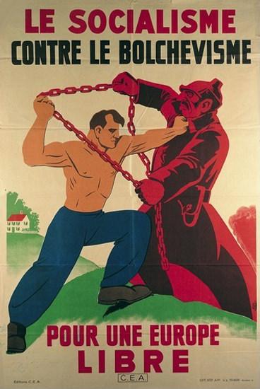 Socialisme Contre Bolchevisme Europe Libre 1939 | Vintage War Propaganda Posters 1891-1970