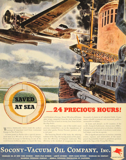 Socony Vacumm Oil  Saved At Sea 24 Hours 1935 | Vintage Ad and Cover Art 1891-1970