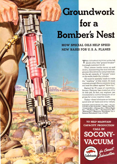 Socony-Vacuum Bomber Nest Groundwork 1942 | Vintage Ad and Cover Art 1891-1970