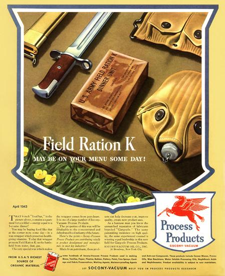 Socony-Vacuum Field Ration K   Vintage War Propaganda Posters 1891-1970