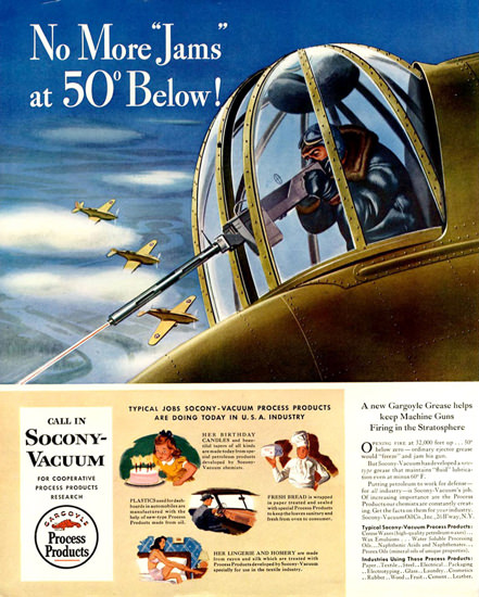 Socony-Vacuum No More Jams At 50 Below 1942 | Vintage War Propaganda Posters 1891-1970