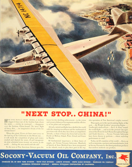 Socony-Vacuum Oil Next Stop China 1935 | Vintage Ad and Cover Art 1891-1970