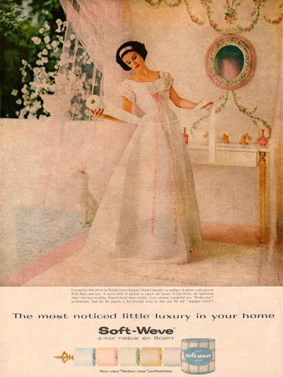 Soft-Weve Beauty Toilet Paper 1959 | Sex Appeal Vintage Ads and Covers 1891-1970