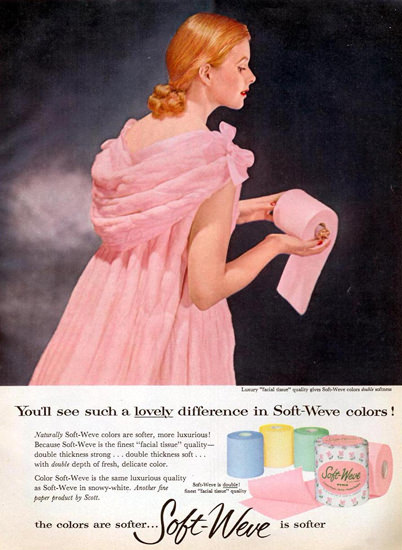 Soft-Weve Pink Girl Toilet Paper 1956 | Sex Appeal Vintage Ads and Covers 1891-1970