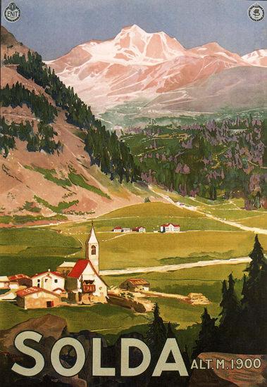 Solda Altitude 1900 Meters Italy Italia | Vintage Travel Posters 1891-1970