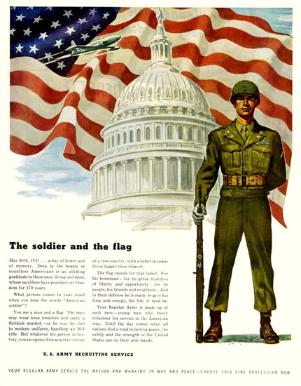 Soldier And The Flag US Army Recruiting 1947 | Vintage War Propaganda Posters 1891-1970