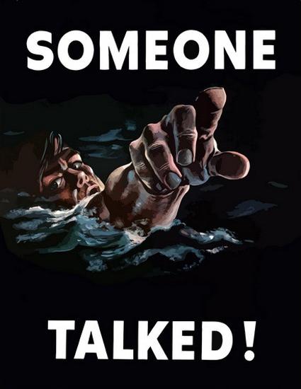 Someone Talked Drowning Soldier US Marine | Vintage War Propaganda Posters 1891-1970