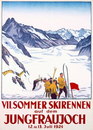 Sommer Skirennen Jungfraujoch 1924 Ski Race | Vintage Travel Posters 1891-1970