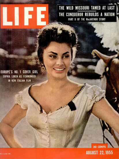 Sophia Loren No 1 in Europe 22 Aug 1955 Copyright Life Magazine | Life Magazine Color Photo Covers 1937-1970