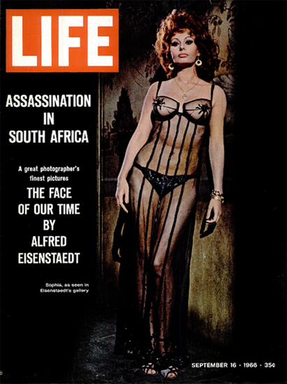 Sophia Loren by Alfred Eisenstaedt 16 Sep 1966 Copyright Life Magazine   Life Magazine Color Photo Covers 1937-1970
