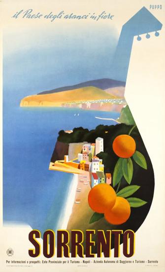 Sorrento Il Paese Degli Aranci In Fiore Italia 1952 | Vintage Travel Posters 1891-1970