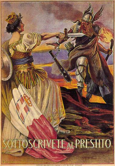 Sottoscrivete Al Prestito Italy Against Germany   Vintage War Propaganda Posters 1891-1970