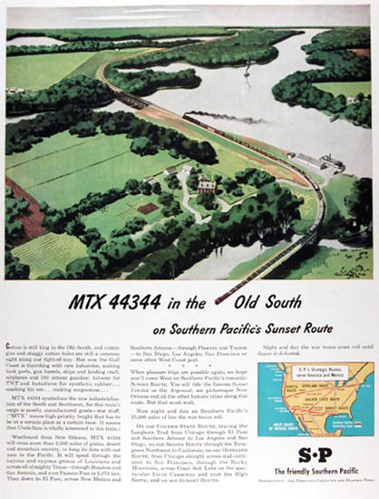 Southern Pacific Sunset Route 1945 MTX 44344 | Vintage Travel Posters 1891-1970