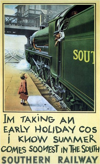 Southern Railway 1936 Taking An Early Holiday | Vintage Travel Posters 1891-1970