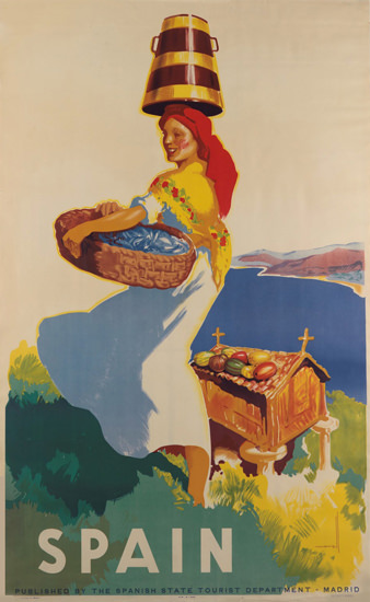Spain Woman Asturia Morell 1940s | Vintage Travel Posters 1891-1970