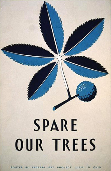 Spare Our Trees Federal Art Project WPA Ohio | Vintage Ad and Cover Art 1891-1970