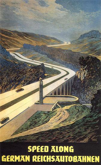 Speed Along German Reichsautobahnen | Vintage Travel Posters 1891-1970