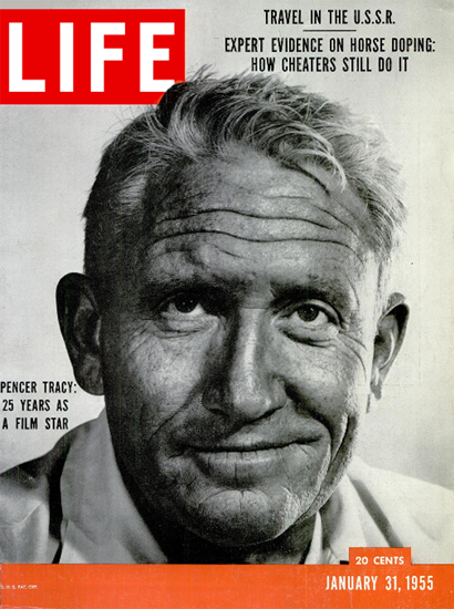 Spencer Tracy 25 Years as a Film Star 31 Jan 1955 Copyright Life Magazine | Life Magazine BW Photo Covers 1936-1970