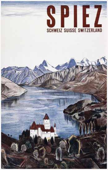 Spiez Lake Thun Schweiz Suisse Switzerland 1925 | Vintage Travel Posters 1891-1970