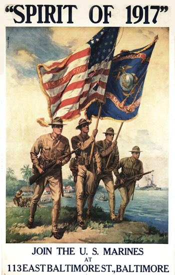 Spirit Of 1917 Join The US Marines | Vintage War Propaganda Posters 1891-1970