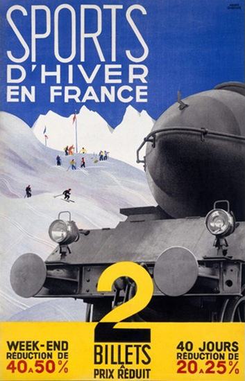 Sports D Hiver En France CF Francais Skiing | Vintage Travel Posters 1891-1970