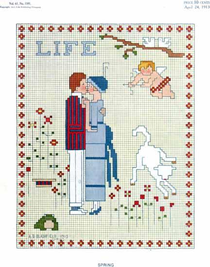 Spring Love Life Humor Magazine 1913-04-24 Copyright | Life Magazine Graphic Art Covers 1891-1936