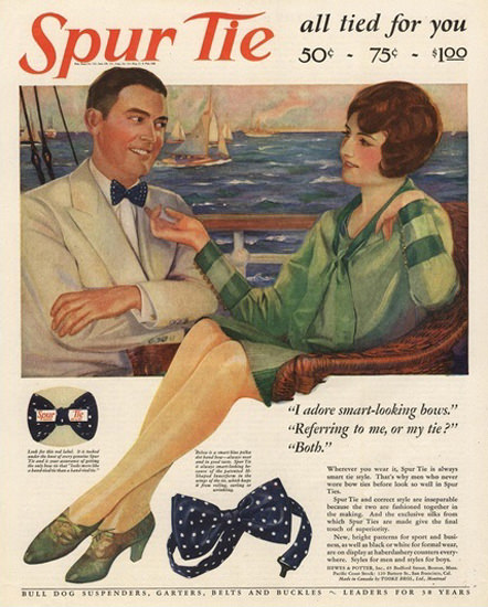 Spur Tie Bow Ties All Tied For You | Sex Appeal Vintage Ads and Covers 1891-1970