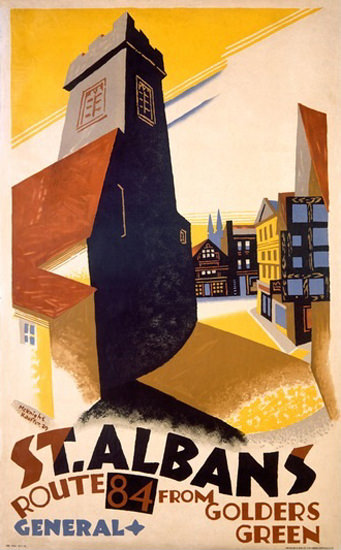 St Albans Route 84 From Golders Green | Vintage Travel Posters 1891-1970