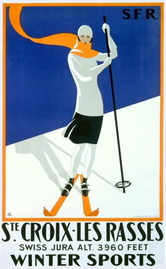 St Croix Les Bains Swiss Jura Winter Sports | Vintage Travel Posters 1891-1970