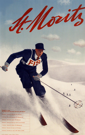 St Moritz 1934 FIS Switzerland | Vintage Ad and Cover Art 1891-1970