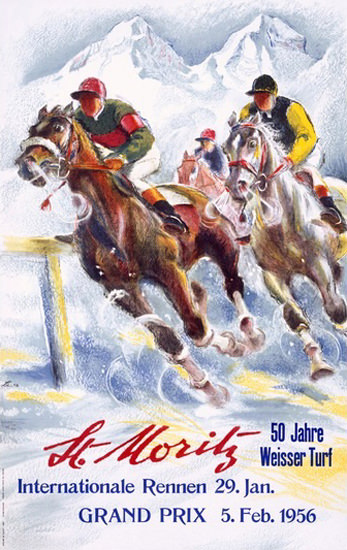 St Moritz 50 Jahre Weisser Turf 1956 Ice Race | Vintage Ad and Cover Art 1891-1970