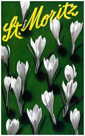 St Moritz Blooming Switzerland 1931 | Vintage Travel Posters 1891-1970