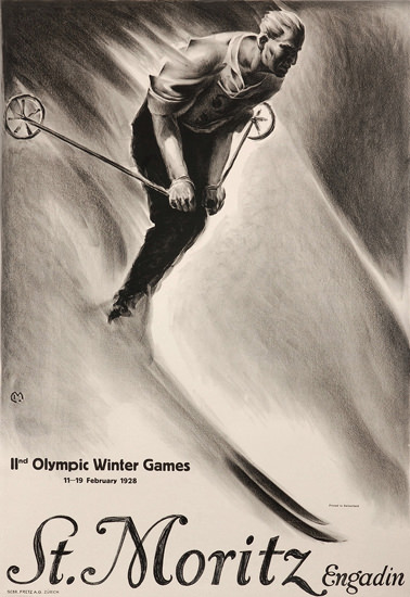 St Moritz Engadin Olympic Winter Games 1928 | Vintage Ad and Cover Art 1891-1970