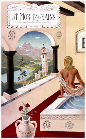 St Moritz Heilbad Im Hoehenklima Spa Switzerland 1940 | Vintage Travel Posters 1891-1970