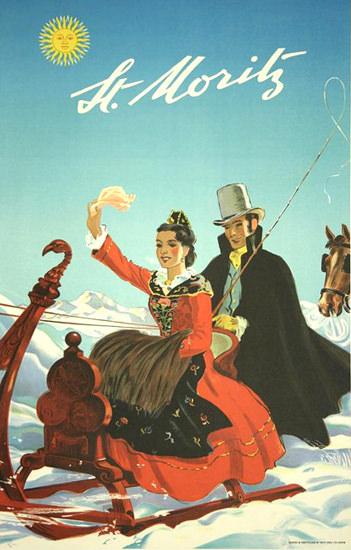 St Moritz Horse Sledge Ride Switzerland | Vintage Travel Posters 1891-1970