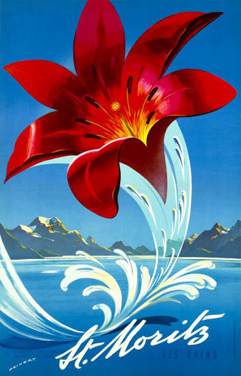 St Moritz Les Bains Switzerland 1958 Swiss Alps | Vintage Travel Posters 1891-1970