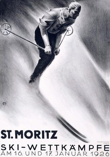 St Moritz Ski-Wettkaempfe 1926 Ski Competition   Vintage Ad and Cover Art 1891-1970