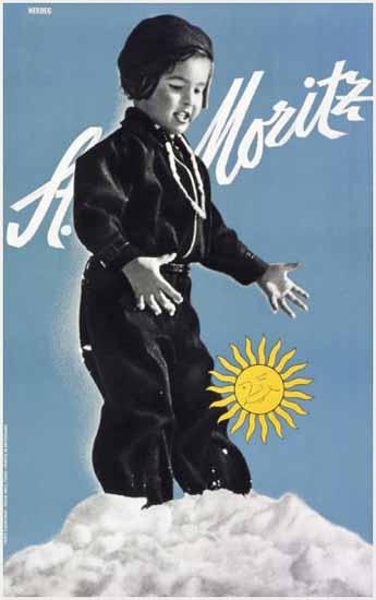 St Moritz Snow In The Sun Switzerland 1936 | Vintage Travel Posters 1891-1970