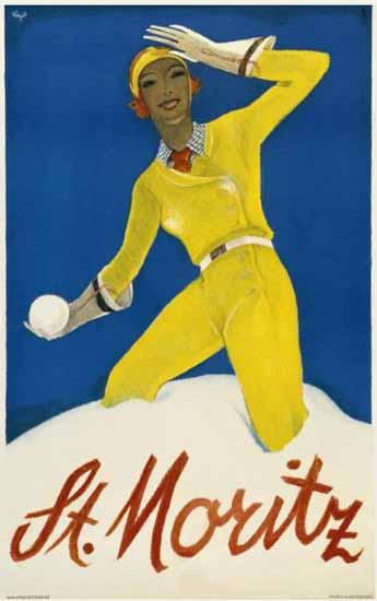 St Moritz Snowball Fight Switzerland 1934 | Vintage Travel Posters 1891-1970