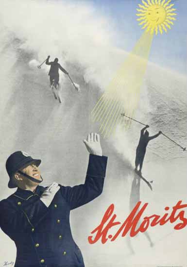 St Moritz Sun Skiing Switzerland 1934 | Vintage Travel Posters 1891-1970