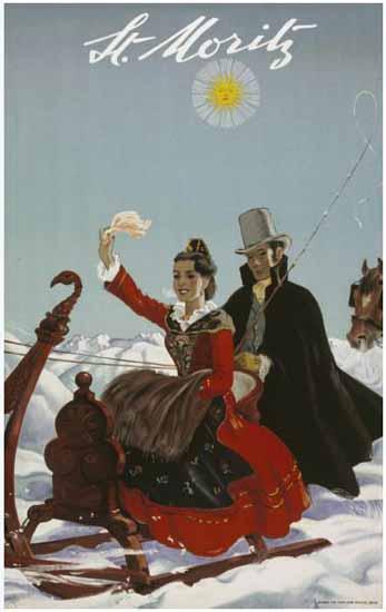 St Moritz Sun Sleigh Ride Switzerland 1944 | Vintage Travel Posters 1891-1970