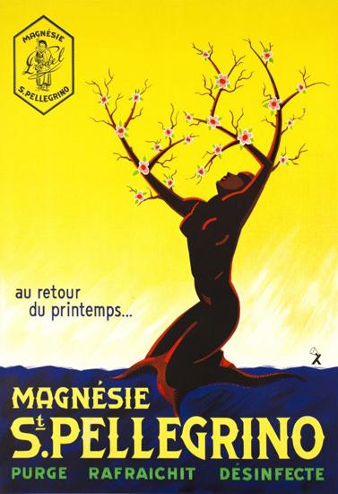 St Pellegrino Magnesie Retour Printemps 1935 | Vintage Travel Posters 1891-1970