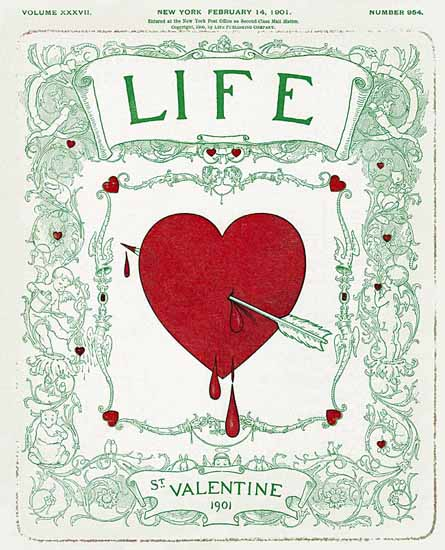 St Valentine Life Humor Magazine 1901-02-14 Copyright | Life Magazine Graphic Art Covers 1891-1936
