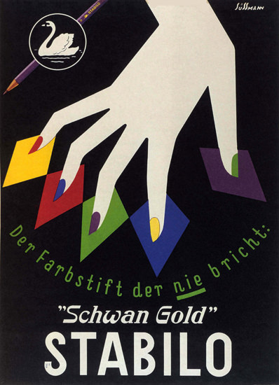 Stabilo Schwan Gold Farbstift Colored Pencil | Vintage Ad and Cover Art 1891-1970