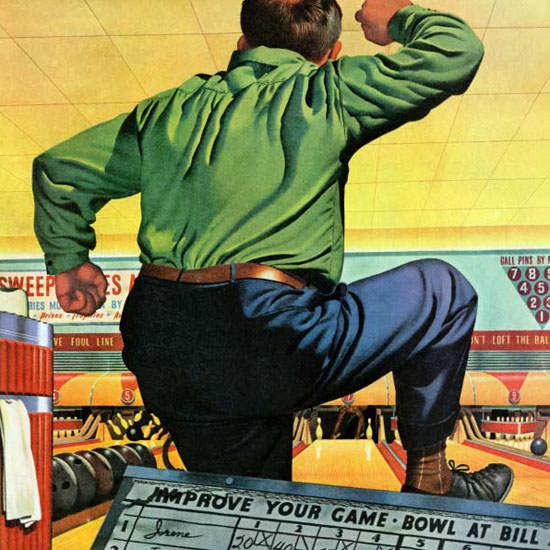Stan Ekman Saturday Evening Post Bowling 1945_01_06 Copyright crop | Best of Vintage Cover Art 1900-1970