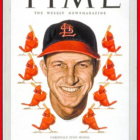 Stan Musial Time Magazine 1949-09 by Ernest Hamlin Baker crop | Best of Vintage Cover Art 1900-1970